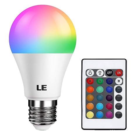 LE Bombilla LED RGB, E27 A60 6W Equivalente 40W Incandescente, Colores Blanco cálido 2700K