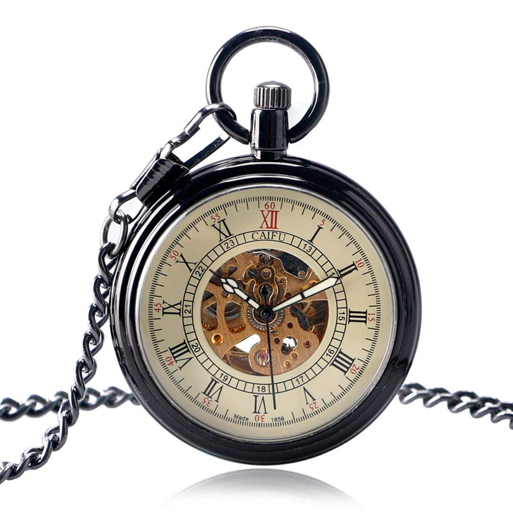 Simple Pocket Watch, Open Face Pocket Watch for Men, Mechanical Self Winding Smooth Stylish Pocket Watch Gift