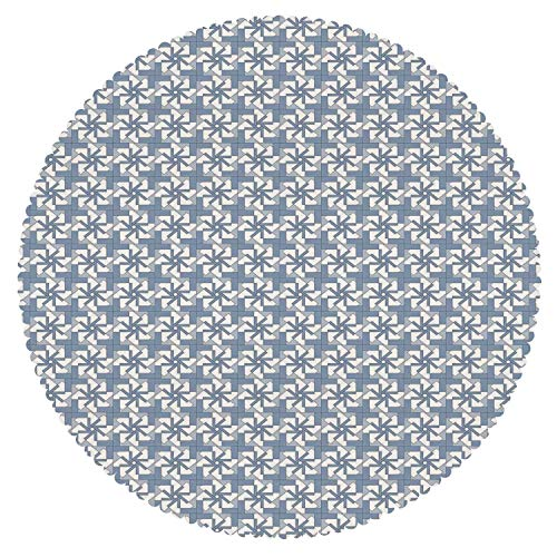 iPrint Round Tablecloth [ Geometric,Complex Abstract Forms with Graphic Flowers Squares Repeating Pattern,Slate Blue Blue White ] Fabric Home Decor Set