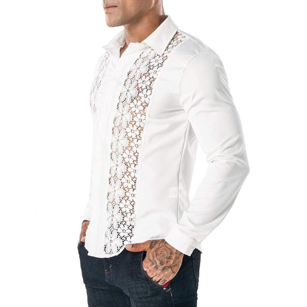 Yvelands Camisas de Encaje Casual Moda Guapo de los Hombres Discoteca de Encaje Completo Camisa de Solapa de Manga Larga Camisa Hueca Camiseta Tops Camisas ...