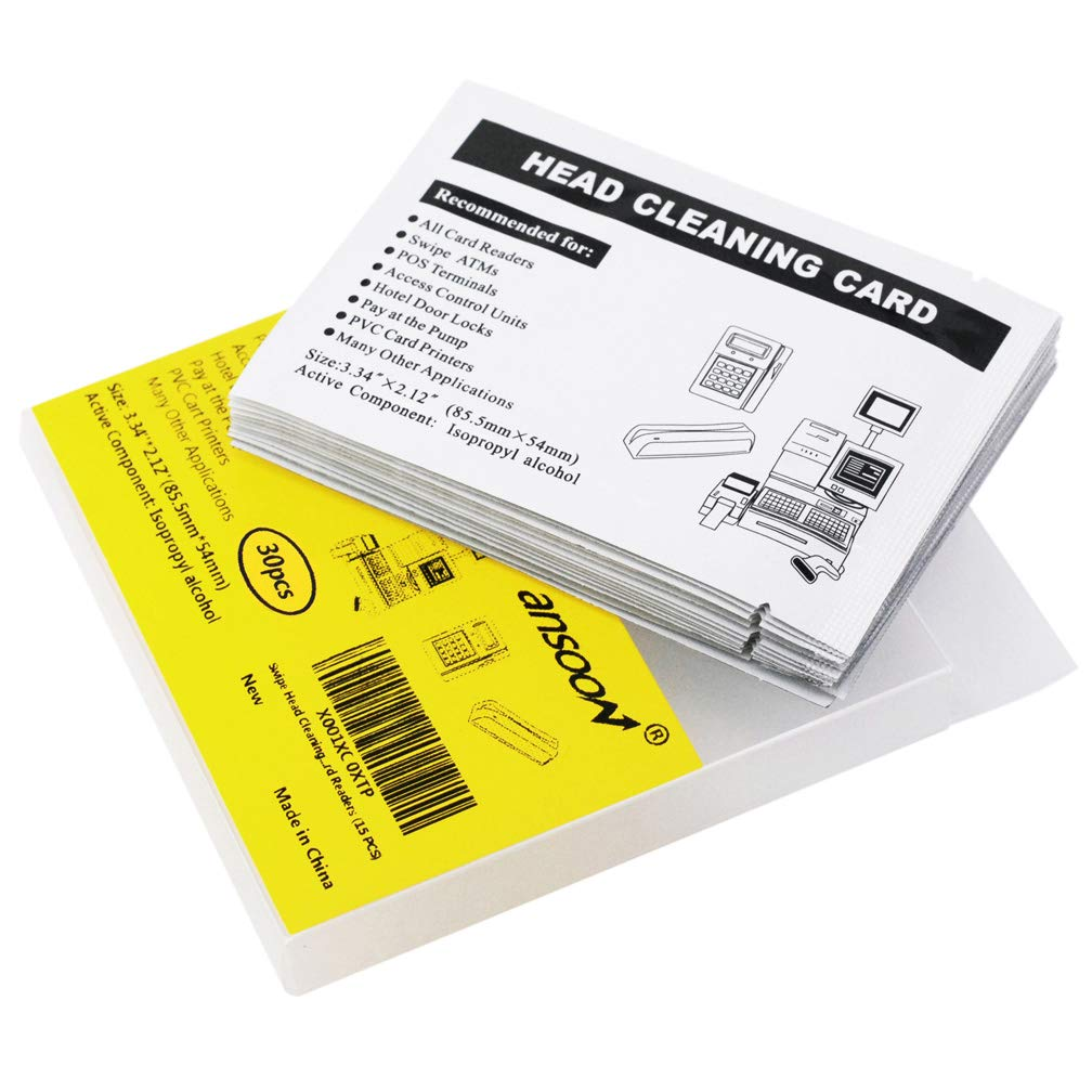 30 Pack Swipe Head Cleaning Cards for Magnetic Stripe Credit Card Readers, Writer Encoder Head, POS Swipe Card Reader Terminal by Ansoon