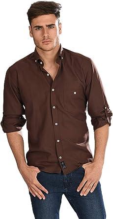 Camisa Oxford Manga Larga de Hombre en Chocolate: Amazon.es: Ropa y accesorios