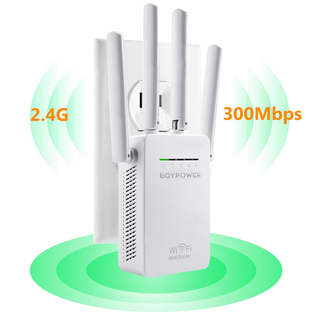 Newest 2018 WiFi Extender Internet Booster Signal Extenders Wireless Repeater 2.4GHz Dual Band up to 300 Mbps - Best Range Network Plug-in - 360 Degree Full Coverage - 1800 sq.ft/40 ft Range