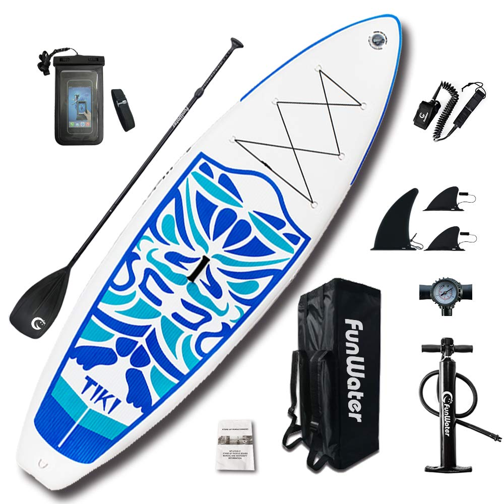 FunWater Inflatable 10'6×33''×6'' Ultra-Light (17.6lbs) SUP for All Skill Levels Everything Included with Stand Up Paddle Board, Adj Paddle, Pump, ISUP Travel Backpack, Leash, Repair Kit, Waterproof Bag