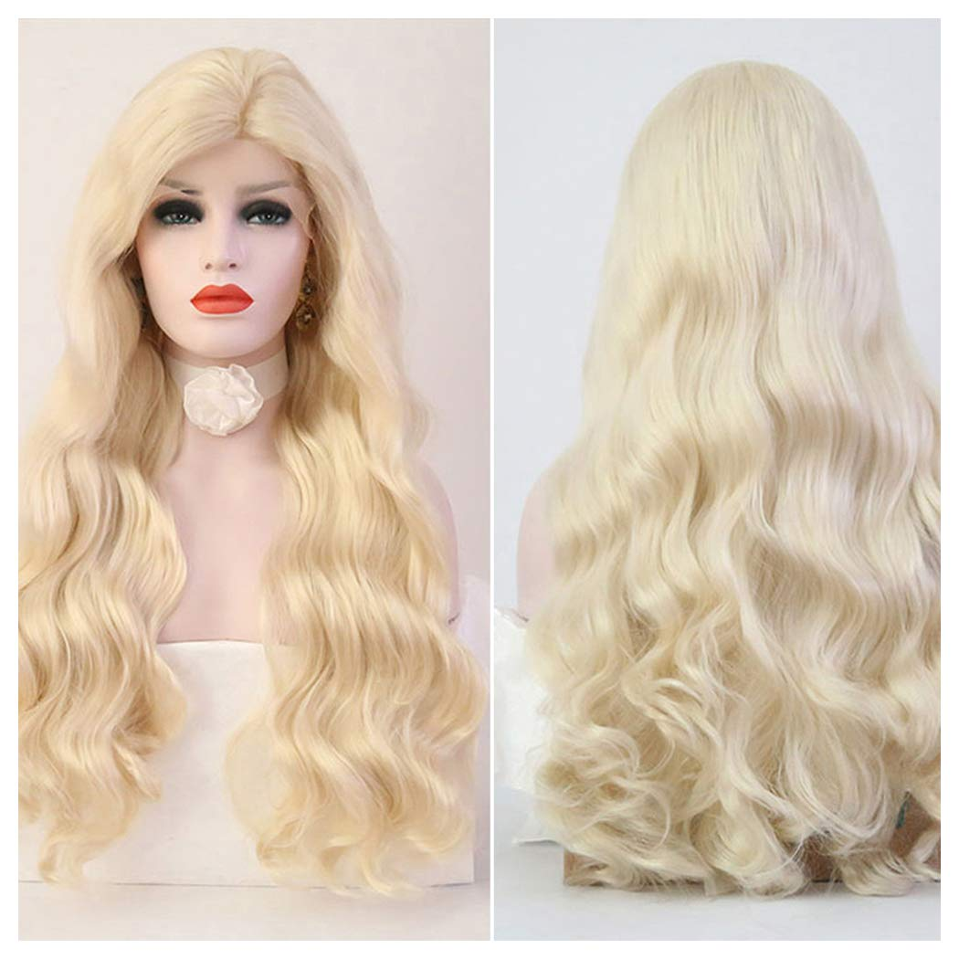 Blonde Long Wavy Human Hair | Real Lace Front Unit Wig for African Black Women Curly Synthetic Fiber Costume Party Female Wig (Blond Wig)