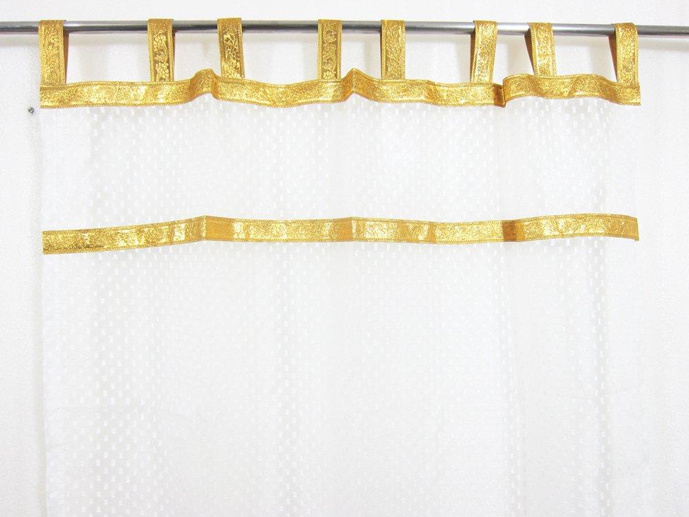 Amazon Mogul Interior White Sari Curtains Gold Tabbs Sheer Moroccan Drapes Panels 96x48 Each Home Kitchen