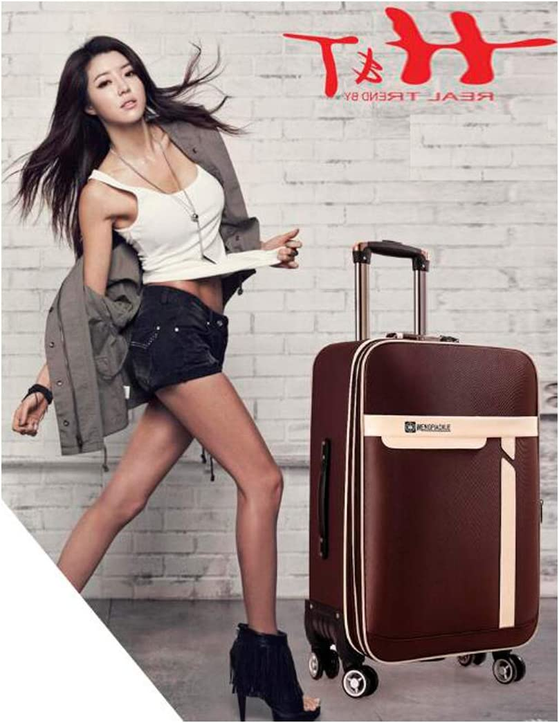 Soft Case Color : Khaki, Size : 20 Haoyushangmao Carry Suitcase Simple and 20//22 Inches Rotating Suitcase Simple Purple The Latest Style