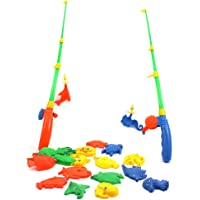 Vanker Magnetic Double Fishing Rod + 20 Fish Model Baby Kids Fishing Toy Holiday Birthday Gift(Random Color)