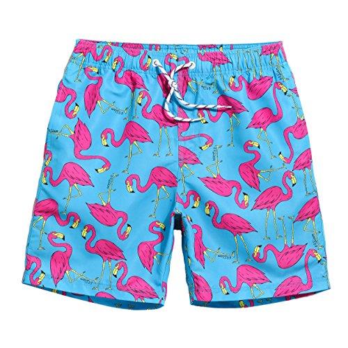 MaaMgic Mens Quick Dry Flamingo Swim Trunks With Mesh Lining Long Qma245-flamingo 32