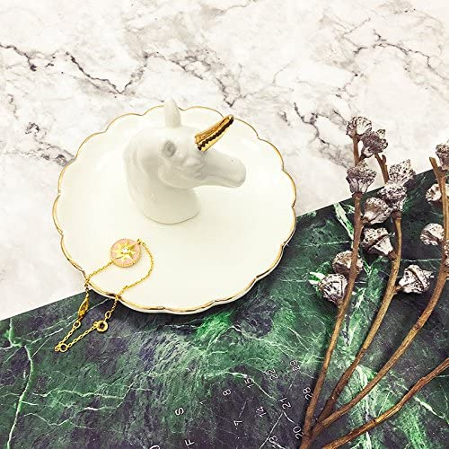 Eastyle 白と金の組み合わせ ユニコーン かわいいジュエリー ラック リング ブレスレット イヤリング キー トレイホルダー Halloween Gift