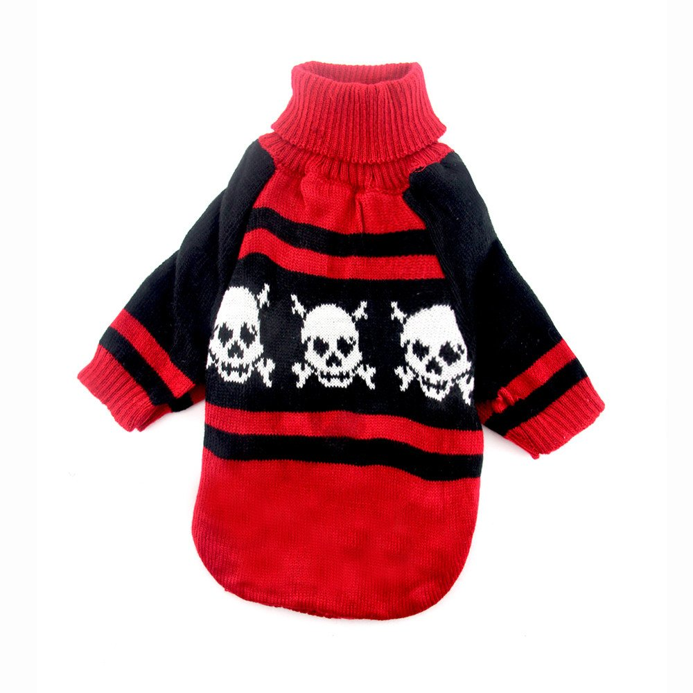 Glumes Cat Dog Doggie Turtleneck Sweater with Skull Printing Pet Clothes Warm Clothing for Small Medium Dogs Winter Cold Weather Windproof, Ideal
