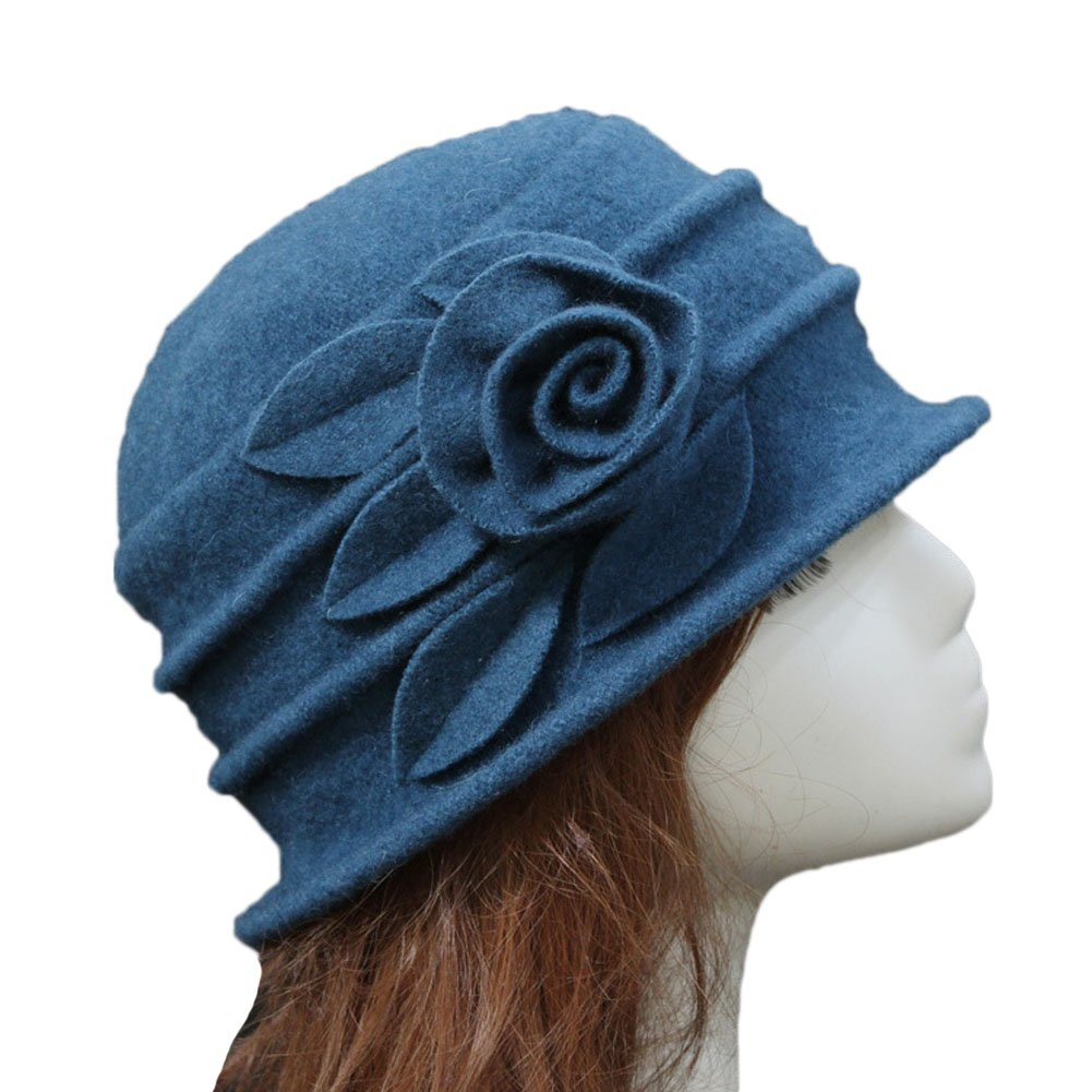 Ealafee Women Blue Real Wool Berets Beanies Cloche Fedoras Flower Top Hats Cap