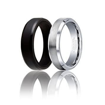 soleed twins set of 2 1 silver tungsten wedding band and 1 black silicone - Tungsten Wedding Ring