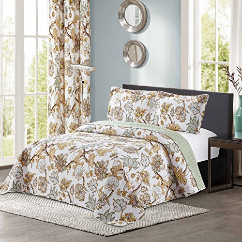 All American Collection New 4pc Printed Modern Geometric Bedspread Coverlet Set (Twin, ()