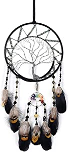 hongshuo Tree of Life Dream Catcher, Dream Catcher of Black Feathers, Metal Feather Crystal Stone Handmade Wall Hanging Decor, Cute Children's Bedroom Decor, Wedding Gift, 2 Free Hooks