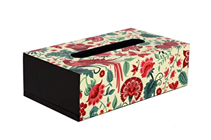Reinvention Factory Tissue Box made of MDF Wood with Palampore Design