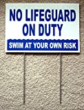 1 Pc Peerless Popular No Lifeguard Duty Signs Plastic Coroplast Outdoor Board Risk Message Size 8'' x 12'' with Stake