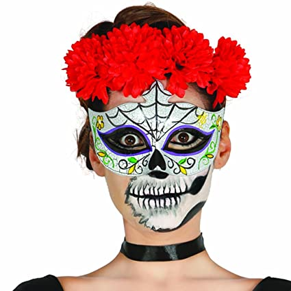 Máscara mexicana de muertos Halloween Antifaz Sugar Skull motivo hombre Careta Día de los muertos Rostro
