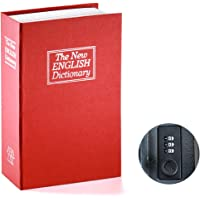 Book Safe with Combination Lock - Jssmst Home Dictionary Diversion Metal Safe Lock Box 2017, SM-BS0403S, red Small