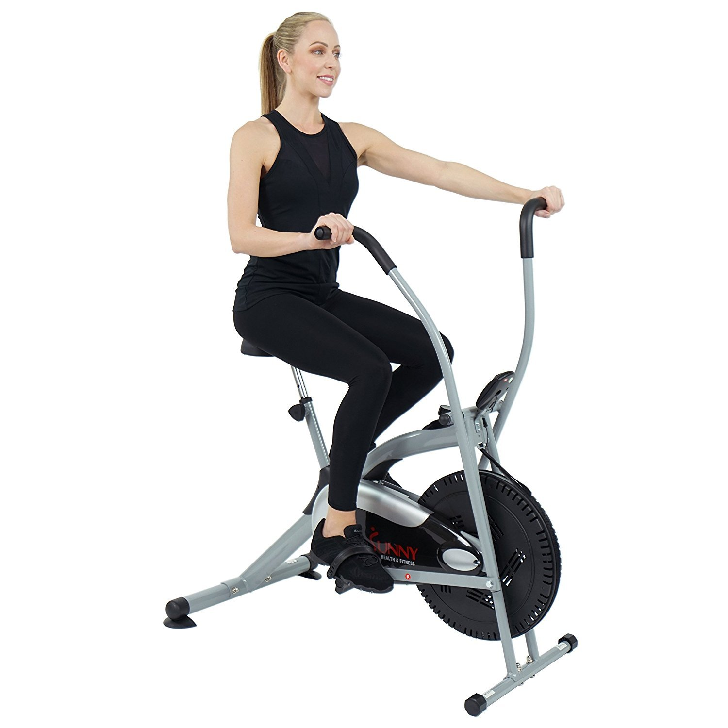 Sunny Health & Fitness SF-B2621 Cross Training Fan Upright Exercise Bike w/ Arm Exercisers by Sunny Health & Fitness