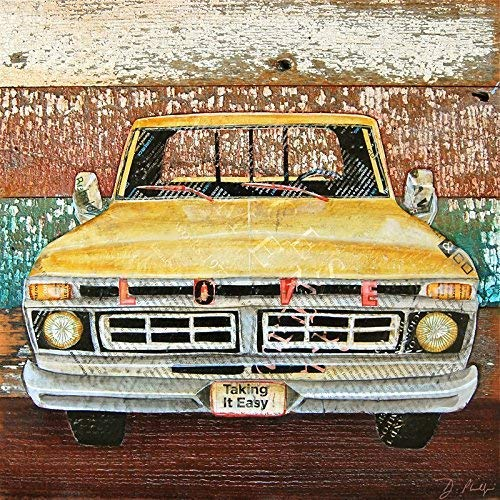 Tough Love - Danny Phillips Art Print, Unframed, Yellow Pickup Truck Farmer Artwork, Old Wood Vintage Reproduction Mixed Media Collage Painting, All Sizes