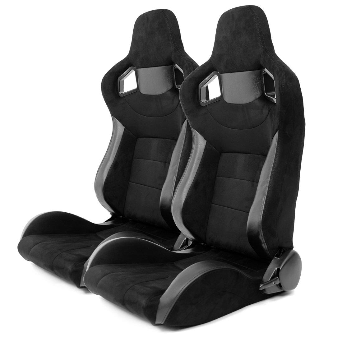 2/Sedili auto sportivi colore nero in similpelle e similalcantara