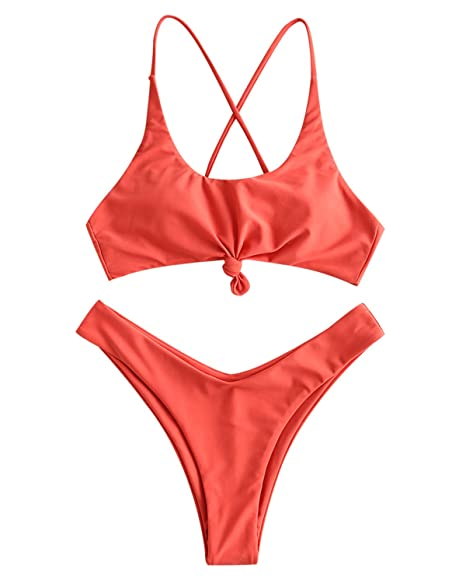 6f6599027cc Amazon.com: ZAFUL Womens Contrast Striped Knot 2 Pieces Bikini Set Straps  High Cut Bathing Suit: Clothing