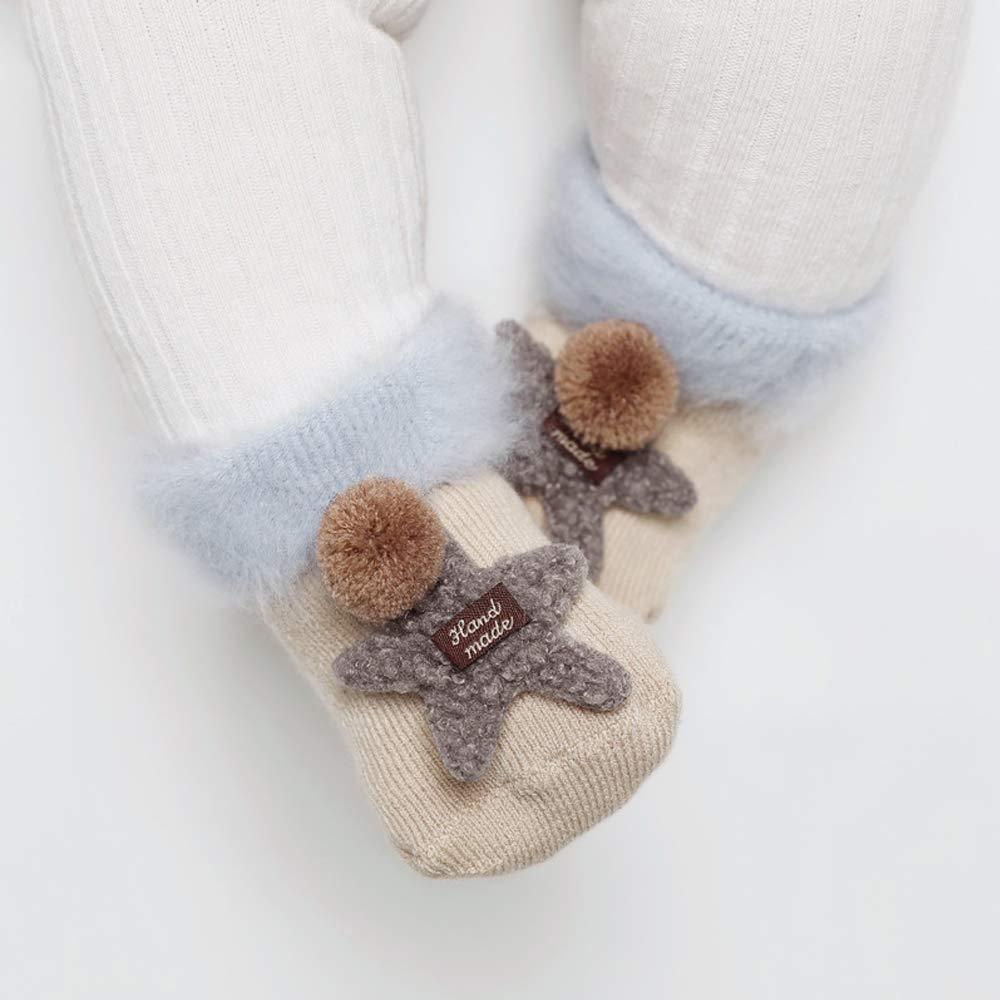 CMJLBM 6 Pairs Thick Plus Velvet Kid Socks Baby Sleep Socks Middle Tube Cartoon Childrens Terry Socks for 0-36 Months Baby
