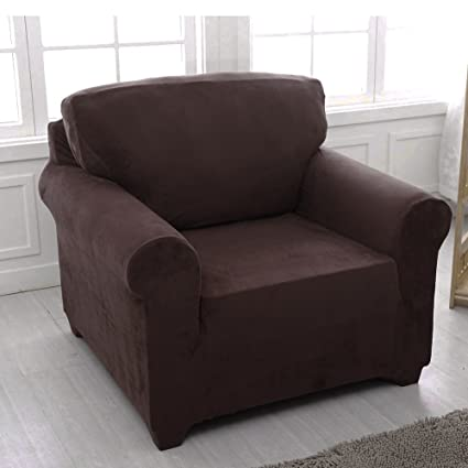 MONY Funda de Sofa 1 plazas Funda elástica para sofá Protector Antideslizante, Chocolate