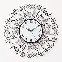 GuoEY Muted Living Room Wrought Iron Wall Clock Large Decorated Quartz Clock, B for Living Room Bedrooms Office