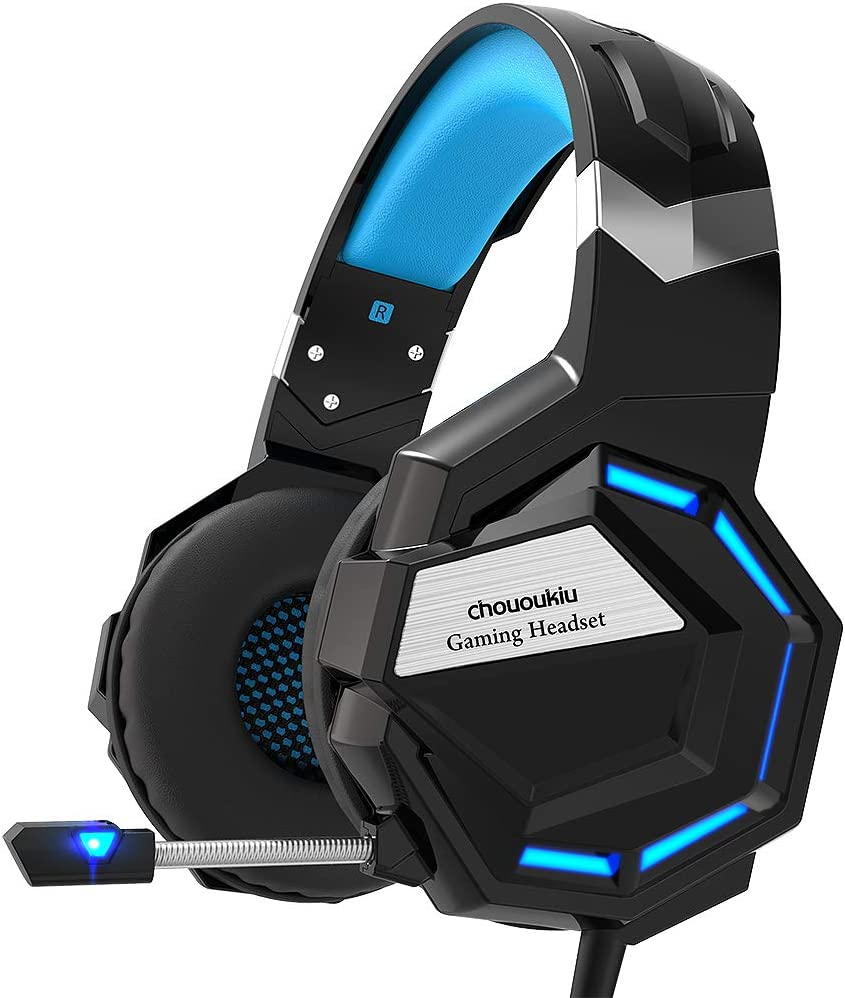 Chououkiu Gaming Headset, cuffie Gaming cuffie per Xbox One, PS4, PC, Surround Sound cuffie con cancellazione del rumore mic, LED luce Bass Surround morbido paraorecchie memoria
