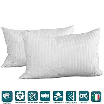 Dos almohadas 100% látex. Almohadas de copos de látex efecto pluma de ganso.