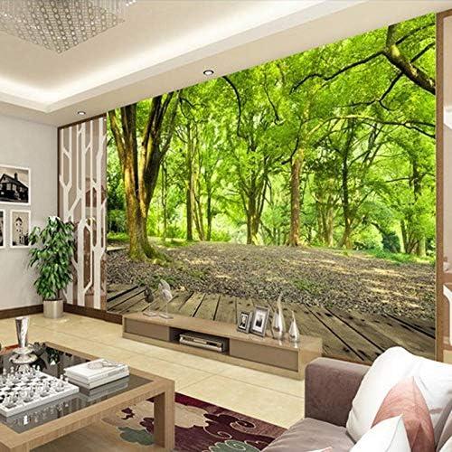 Hhkkck緑の森の木の写真の壁画の寝室のリビングルームのテレビソファの背景の壁不織布ストローテクスチャカスタマイズ3D壁紙-160X120Cm