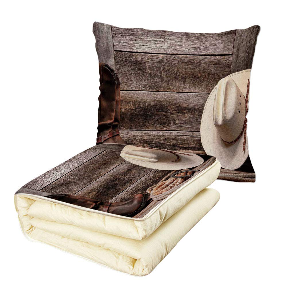 Quilt Dual-Use Pillow Western Decor American West Rodeo White Straw Cowboy Hat with Lariat Leather Boots on Rustic Barn Wood Multifunctional Air-Conditioning Quilt