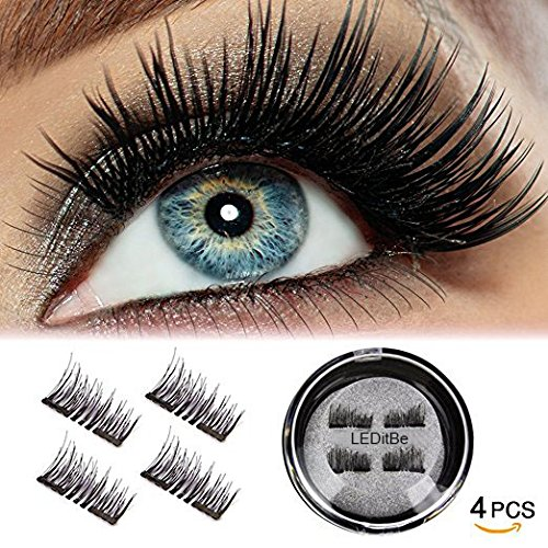 LEDitBe Magnetic False Eyelashes, 3D Black Dual Magnetic, Ultra Thick Ultra Solf And Long for Entire Eyes, Glamorous, Natural Look, Handmade Reusable Eyelashes (Black) 1 Pair/4Pcs