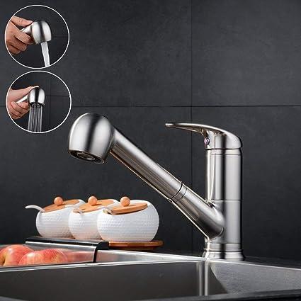 Spültischarmatur Wasserhahn Küche Spültisch Armatur  Messing Mischbatterie  Mit Schlauchbrause   Matt Gebürstet   Küchenarmaturen Waschtischarmatur ...