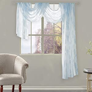 Light Blue Sheer Window Scarf Luxury Shiny Leaves Jacquard Curtain Scarf Valance 52 by 144 inches Long