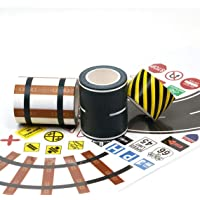 Toy Series Road Washi Tape and Railway Washi Tape Set + 160 Road Sign Stickers Includes Corners