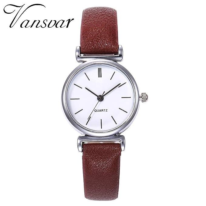 DressLksnf Reloj Lujo Moda de Mujer Pulsera Original Acero Inoxidable Durable Correa de Cuero Digital Clásico Banda de Reloj Cadena Ajuste Simple: ...