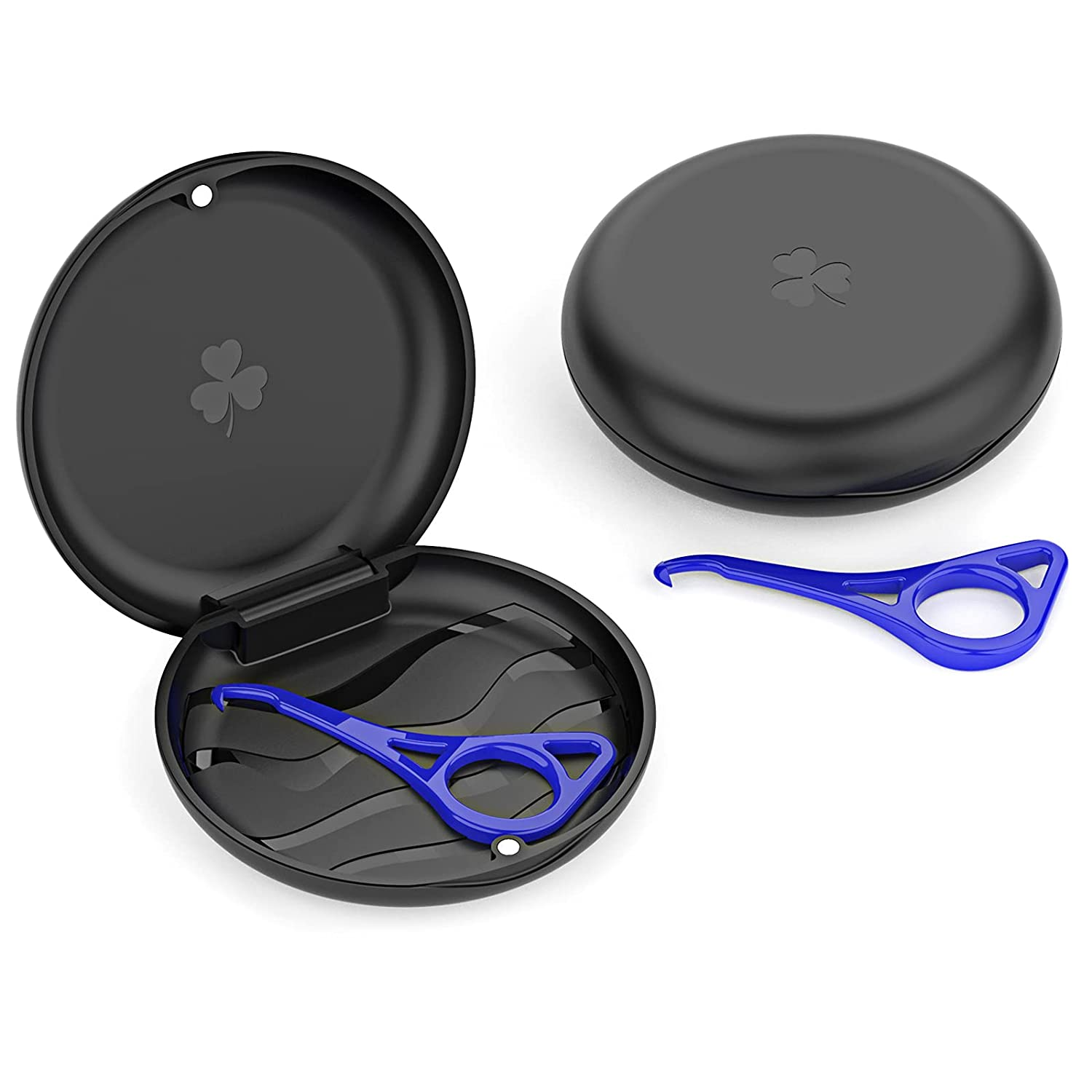 Aligner and Retainer Case with Special Magnetic Closure and 3-leaf Clover Design, 2 Pack (Black)