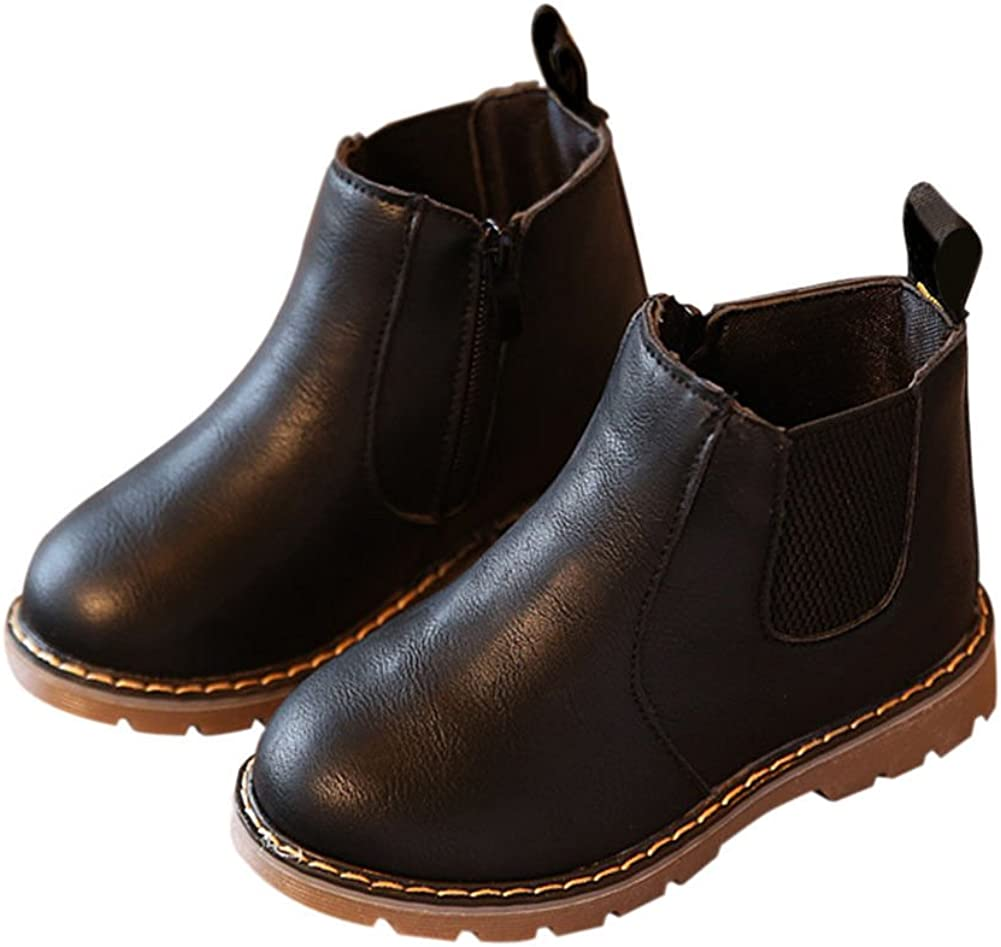 Fuyingda Winter Kids Shoes Boys Girls Martin Boots Casual Vintage Zipper Flat Shoes