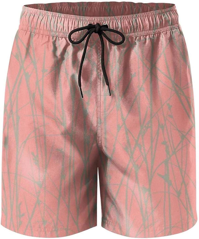 LHSKH Coral Mens Swim Trunks Elastic Waist Boardshorts for Men Graphic Mens Swim Shorts