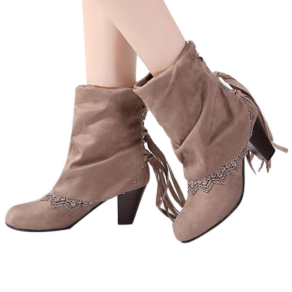 Farjing Fashion Women Casual Sexy High Heels Lace Patchwork Buckled Boots Shoes Booties(US:6.5,Khaki)