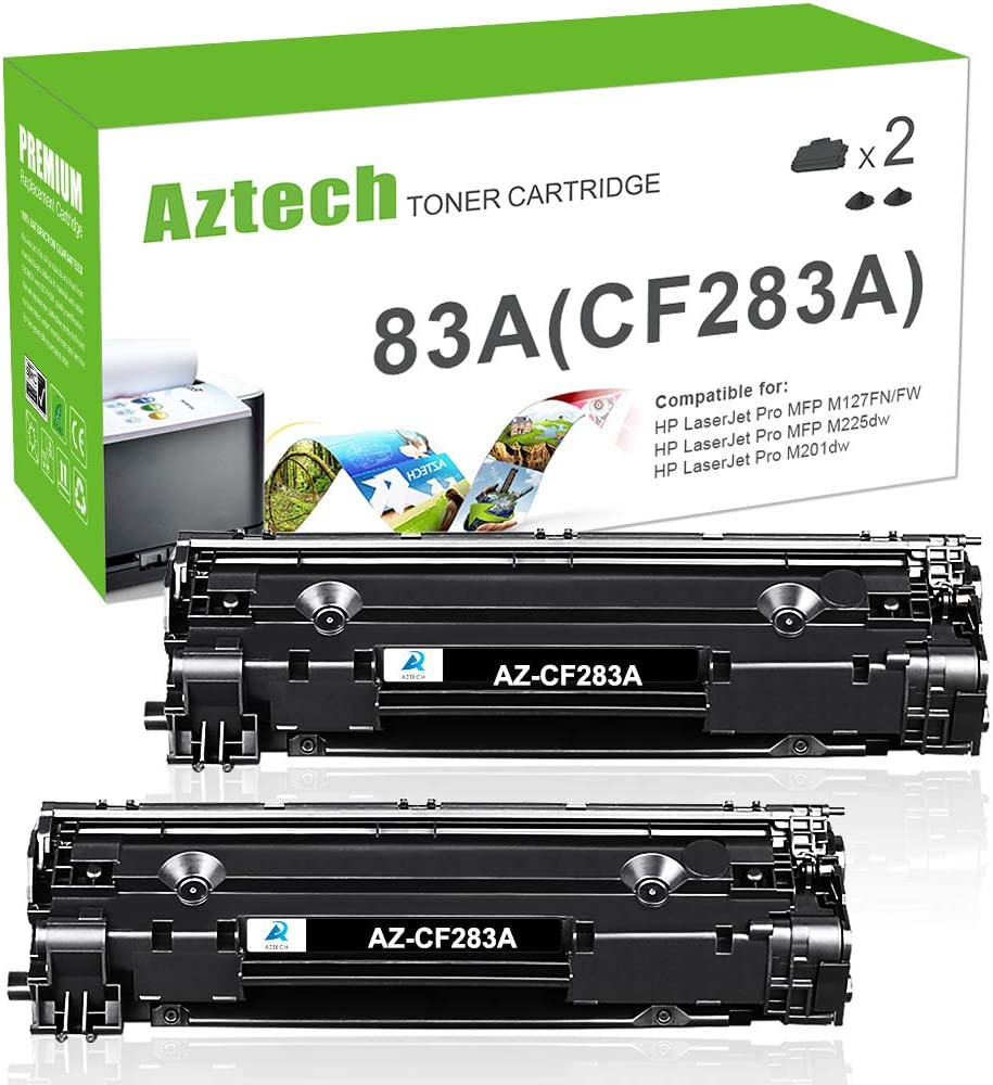 Aztech Compatible Toner Cartridge Replacement for HP 83A CF283A Laserjet Pro MFP M125a M125nw M127fn M127fw M201dw M201n M225dn M225dw (Black, 2-Pack)