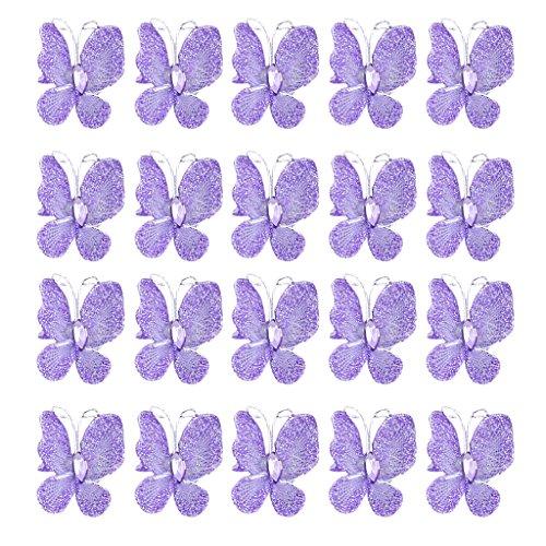 50pcs Stocking Glitter Butterflies Purple