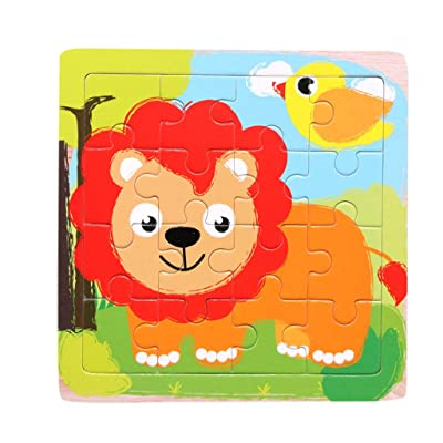 Wooden Pattern Blocks - Animal Puzzle Set Colorful Stacking Game Preschool Montessori Brain Teaser Gift for Toddler: Clothing