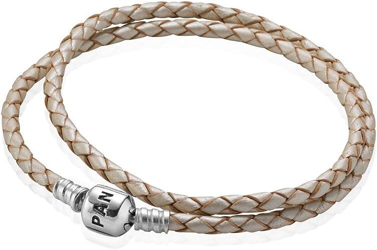 Pandora - Bracelet Cuir Perlé Double Tour, Fermoir Clip Argent ...