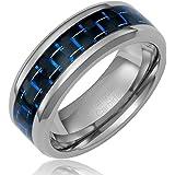 Cavalier Jewelers Anillo de boda para hombre de carburo de tungsteno con capa interior de fibra de carbono, 8 mm, color plateado, azul y negro
