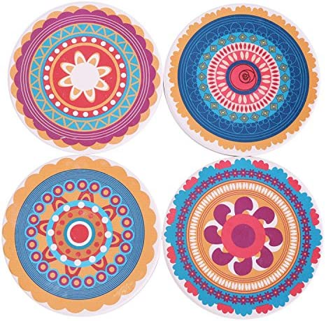 Suitable for Kinds of Cups and Mugs Protect Your Furniture from Spills Scratches Water Rings and Damage Absorbent Mandala Ceramic Coasters with Cork Base Drink Coasters Set of 6