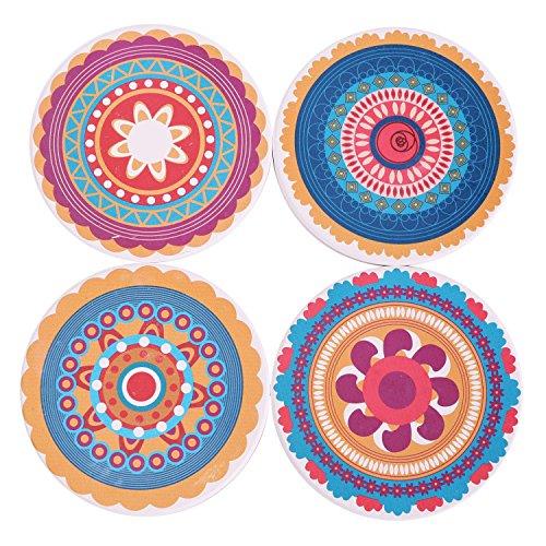 Coasters Set of 4 Absorbent Stone Coaster for Drinks - Desktop Protection Prevent Furniture Damage - Colorful Mandala Style Tabletop Drink spills ()